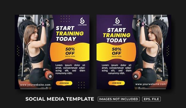 Szablon postu w mediach społecznościowych fitness i siłowni
