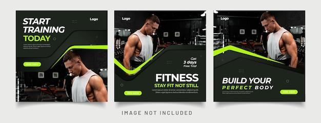 Szablon postu w mediach społecznościowych gym fitness
