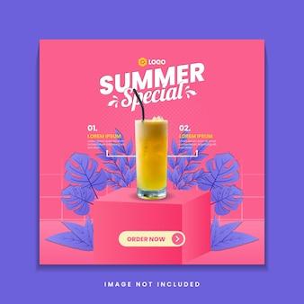 Szablon postu w mediach społecznościowych letniego specjalnego drinka
