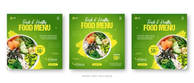 Szablon postu w mediach społecznościowych na baner promocyjny menu żywności