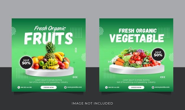 Szablon postu w mediach społecznościowych na instagramie z dostawą świeżych organicznych owoców i warzyw