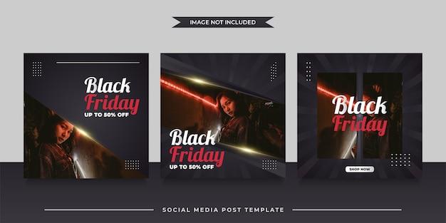 Szablon postu w mediach społecznościowych na promocję sprzedaży w czarny piątek w stylu minimalistycznym