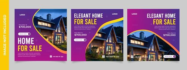 Szablon postu w mediach społecznościowych na rynku nieruchomości elegancki sprzedaży nieruchomości lub sprzedaży domu promocja w mediach społecznościowych