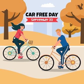 Szablon postu w mediach społecznościowych na światowy dzień bez samochodu.