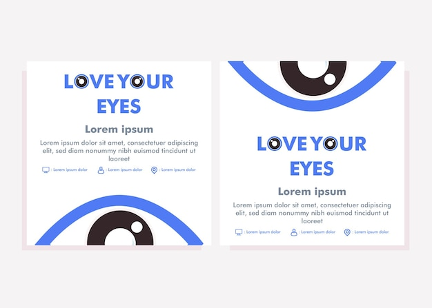 Szablon postu w mediach społecznościowych na świecie. post w mediach społecznościowych do koncepcji projektu kampanii zdrowia oczu