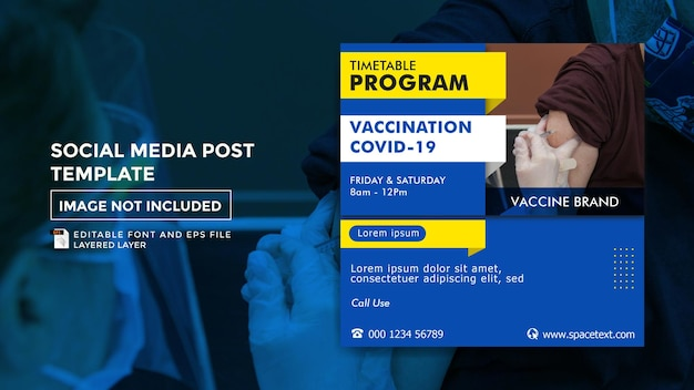 Szablon postu w mediach społecznościowych na temat szczepień