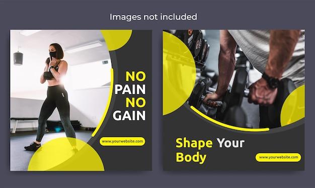 Szablon postu w mediach społecznościowych o fitnessie