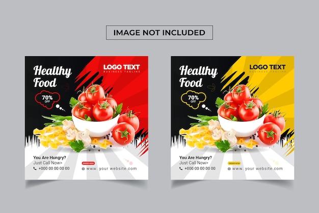 Szablon postu w mediach społecznościowych o zdrowej żywności