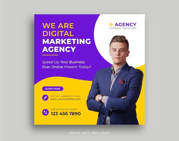 Szablon postu w mediach społecznościowych promocji agencji marketingu cyfrowego biznesu