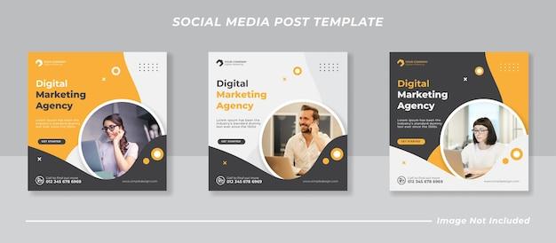 Szablon postu w mediach społecznościowych promocji marketingu cyfrowego biznesu