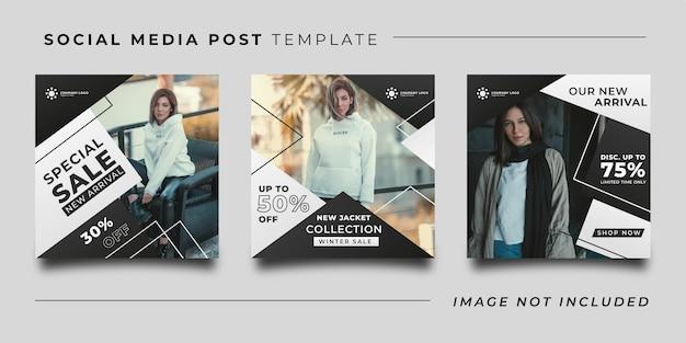 Szablon postu w mediach społecznościowych promocji mody zimowej