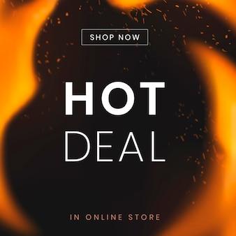 Szablon postu w mediach społecznościowych, reklama zakupów gorącej sprzedaży, z płonącym wektorem płomienia