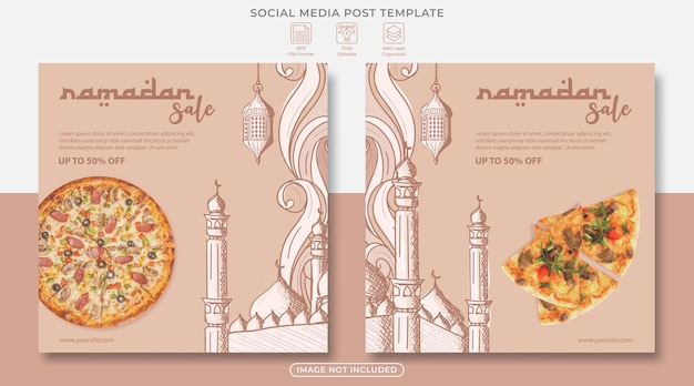 Szablon postu w mediach społecznościowych sprzedaży ramadanu