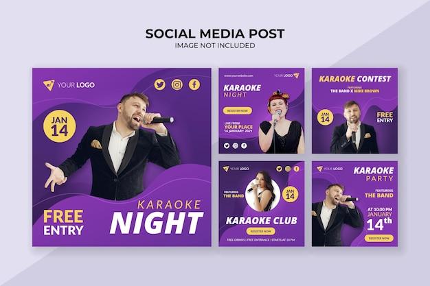 Szablon postu w mediach społecznościowych w nocy karaoke