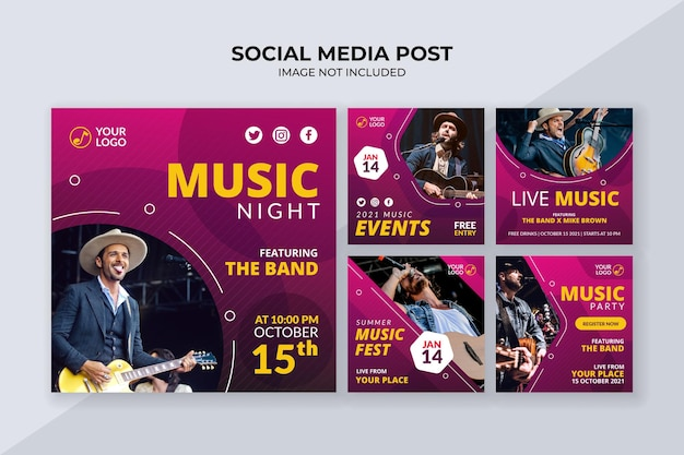 Szablon postu w mediach społecznościowych wydarzenia muzycznego