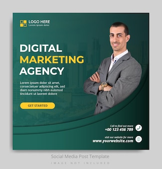 Szablon postu w mediach społecznościowych z agencji marketingu cyfrowego
