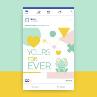 Szablon postu w mediach społecznościowych z geometrycznymi dziecięcymi walentynkami