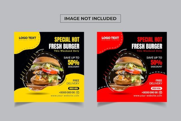 Szablon postu w mediach społecznościowych z gorącym i świeżym burgerem