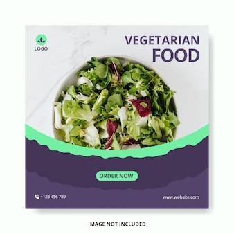 Szablon postu w mediach społecznościowych z jedzeniem wegetariańskim