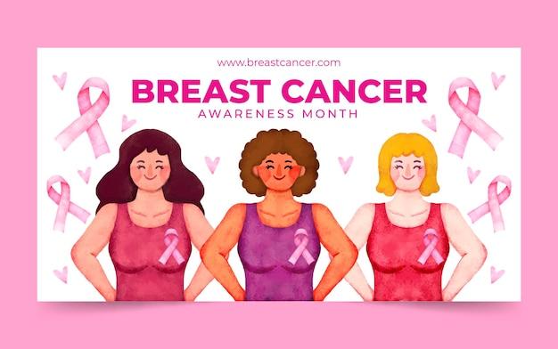 Szablon postu w mediach społecznościowych z miesiąca świadomości raka piersi w akwareli