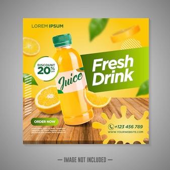 Szablon postu w mediach społecznościowych z sokiem pomarańczowym