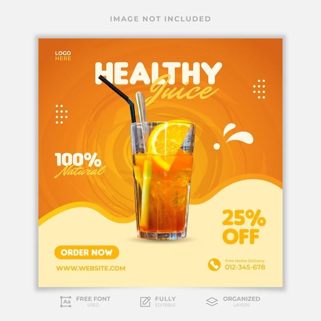 Szablon postu w mediach społecznościowych zdrowego soku
