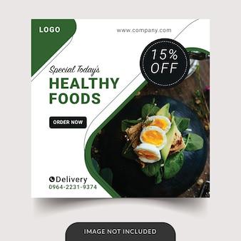 Szablon postu w mediach społecznościowych zdrowej żywności