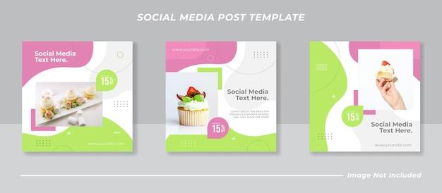 Szablon postu w mediach społecznościowych ze słodkimi ciastami