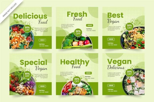 Szablon postu w mediach społecznościowych ze zdrową żywnością i warzywami