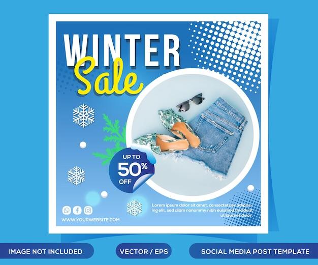 Szablon postu w mediach społecznościowych zimowej sprzedaży