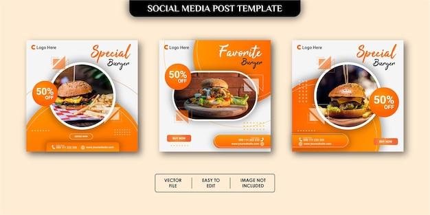 Szablon postu w mediach społecznościowych żywności