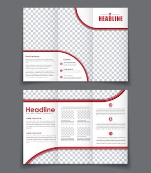 Szablon potrójnej broszury z czerwonymi elementami. zaprojektuj składaną broszurę z miejscem na zdjęcia