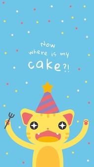 Szablon powitania urodzinowego dla dzieci z uroczą, głodną kreskówką kota