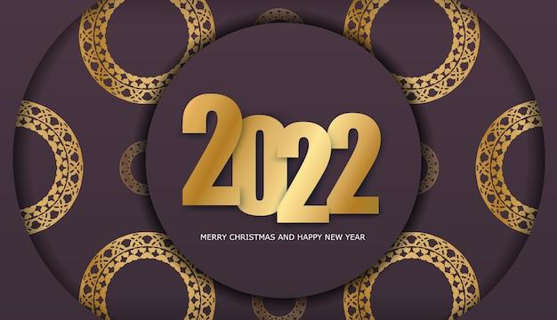 Szablon powitanie broszura 2022 wesołych świąt bordowy kolor z luksusowym złotym wzorem