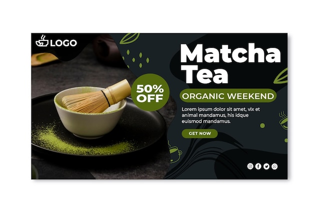 Szablon poziomego banera herbaty matcha