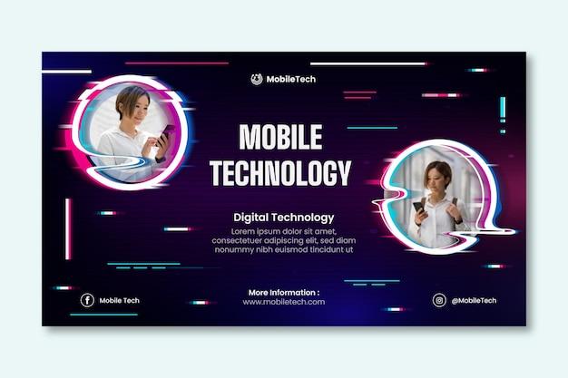 Szablon poziomego banera technologii mobilnej