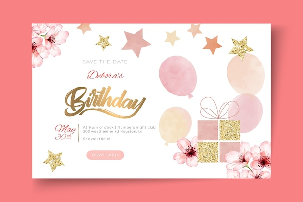 Szablon poziomego banera urodzinowego