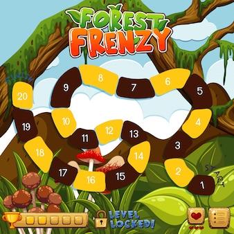 Szablon poziomu gry spider w dżungli