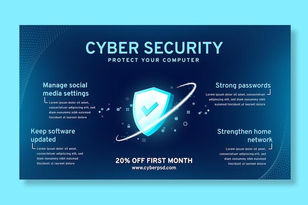 Szablon poziomy baner bezpieczeństwa cybernetycznego