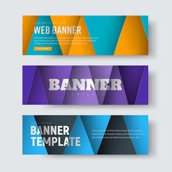 Szablon poziomych banerów internetowych w stylu material design z kolorowymi pływającymi arkuszami papieru przecinającymi się w trójkąty.