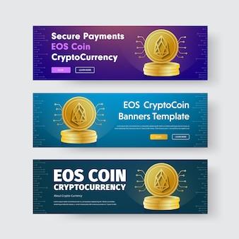 Szablon poziomych banerów ze złotą monetą kryptowaluty eos.