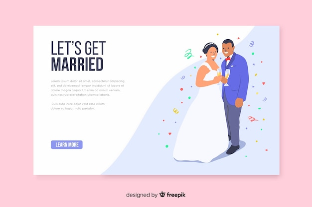 Szablon pozwól nam pobrać ślubną stronę docelową ślubu