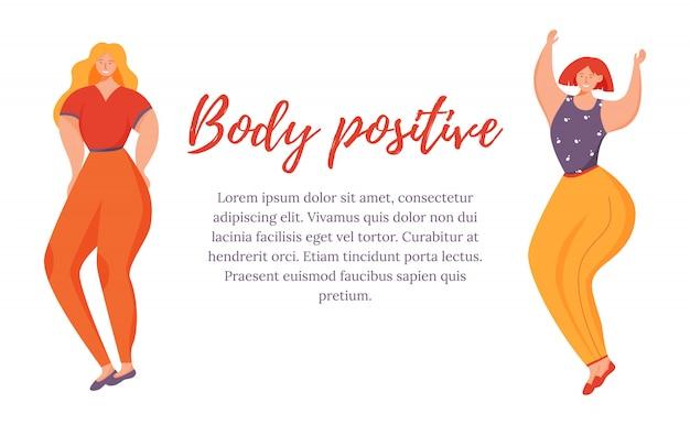 Szablon pozytywny plakat ciała. z nadwagą kobiety odizolowywali postać z kreskówki na bielu. ruch feministyczny. baner, strona broszury, układ ulotki z miejscem na tekst