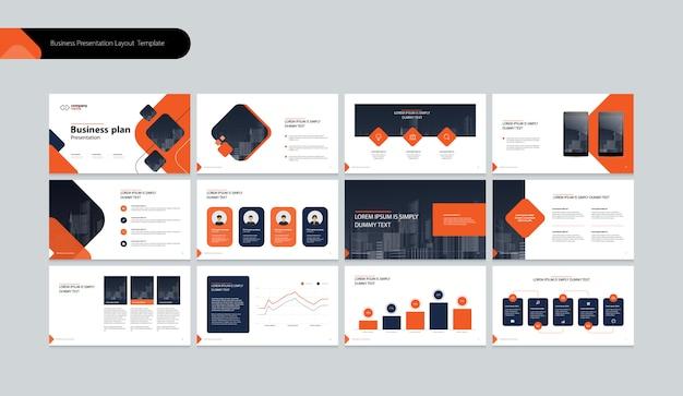 Szablon prezentacji biznesowej i projekt układu strony dla rocznego raportu biznesowego