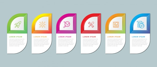 Szablon prezentacji biznesowej infografiki, szablon infografiki krok po kroku 6