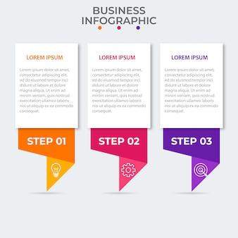 Szablon prezentacji biznesowych infographic z 3 opcjami. ilustracja.