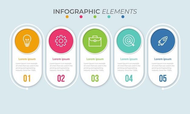 Szablon prezentacji biznesowych infographic z 5 opcjami. ilustracja.
