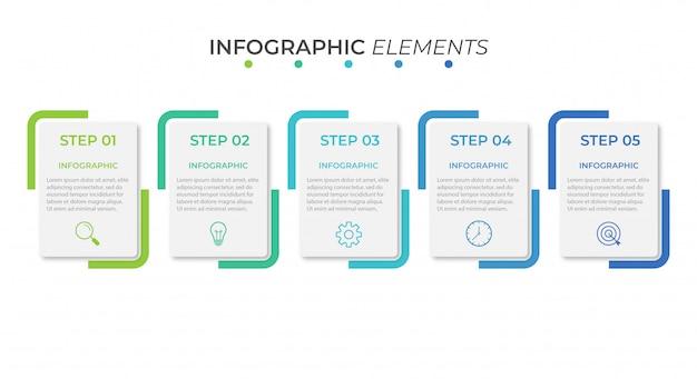 Szablon prezentacji biznesowych infographic z 5 opcjami.