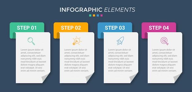 Szablon prezentacji biznesowych infographic z 5 opcjami