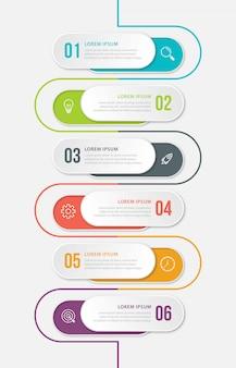 Szablon prezentacji biznesowych infographic z 6 opcjami